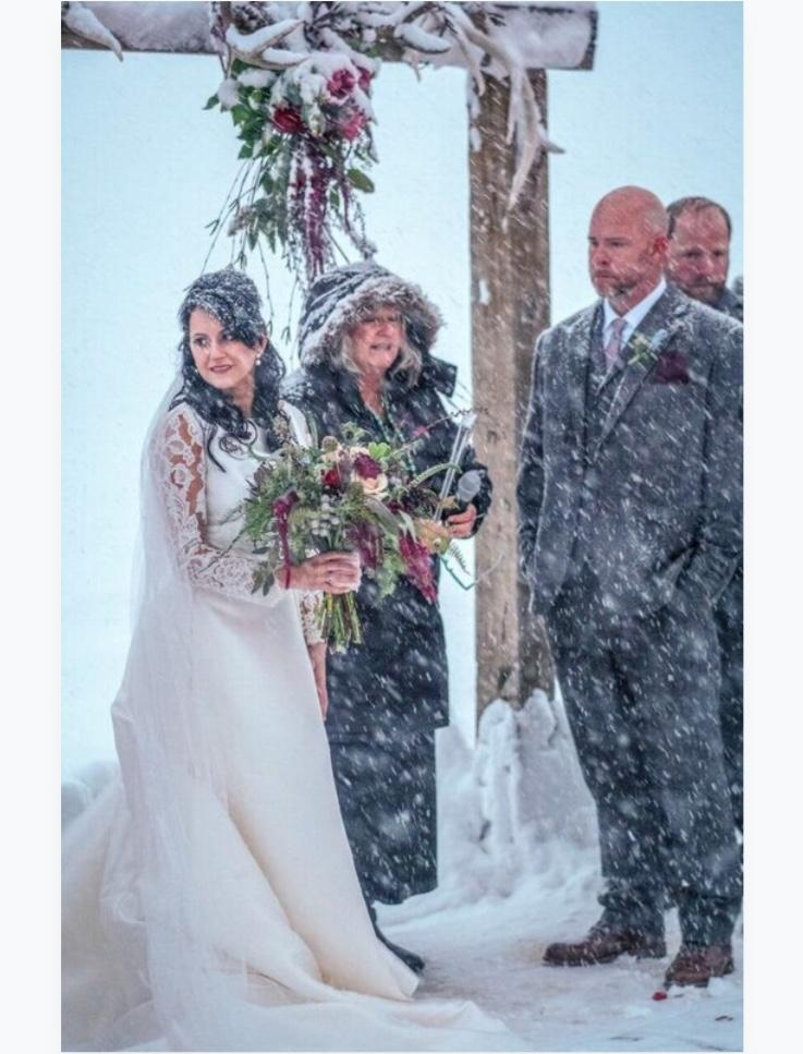blizzard outdoor wedding